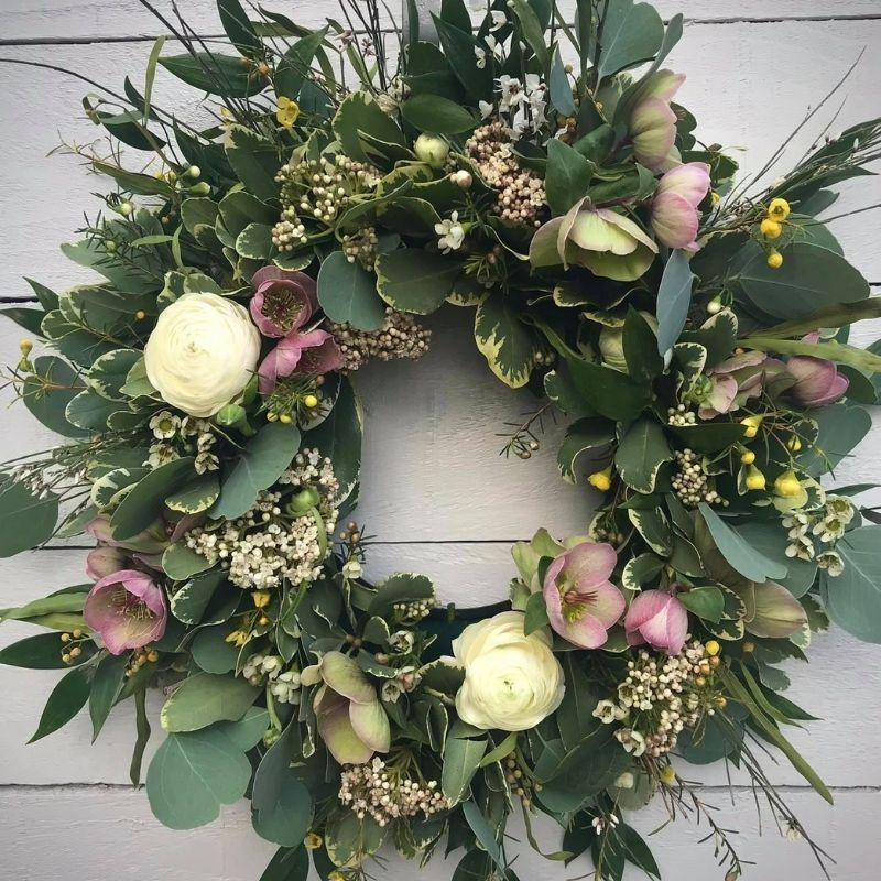 Bespoke eco funeral tribute wreath including hellibos and anemones