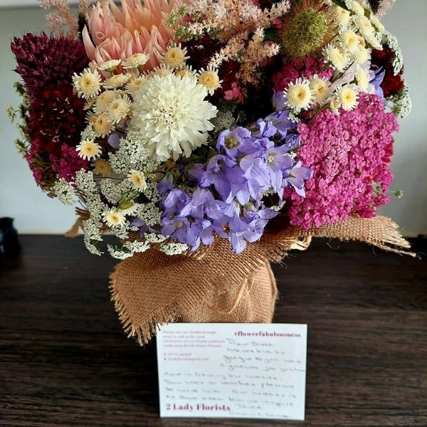 Kind Words from Sarah of Simple Online Solutions to say thank you for her flowers for creating website